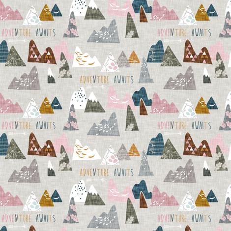 Adventure Awaits (pink) MICRO fabric by nouveau_bohemian on Spoonflower - custom fabric
