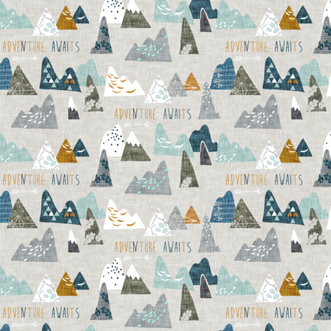 Adventure Awaits (earth) MICRO fabric by nouveau_bohemian on Spoonflower - custom fabric