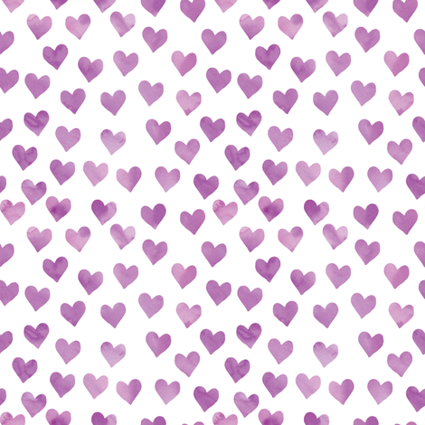 watercolor hearts in purple fabric by littlearrowdesign on Spoonflower - custom fabric