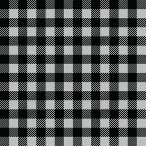 Buffalo plaid - 1/2 inch - Grey & Black
