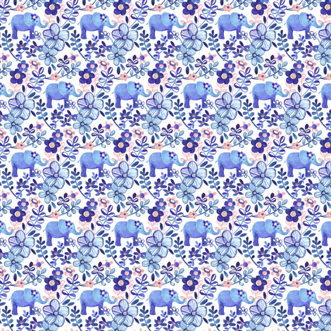 Tiny Purple Elephant Watercolor Floral on White fabric by micklyn on Spoonflower - custom fabric