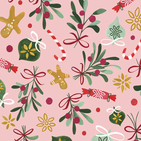 Vintage Christmas/ Pink Winter Holidays Fabric/ Gingerbread Mistletoe Fabric fabric by bianca_pozzi on Spoonflower - custom fabric