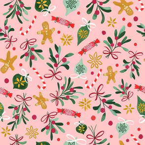 Vintage Christmas/ Pink Winter Holidays Fabric/ Gingerbread Mistletoe Fabric