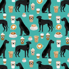great dane coffee fabric turquoise cute dogs design black great danes design