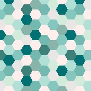 mermaid hexagons // teal
