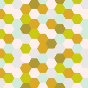 mermaid hexagons // golden