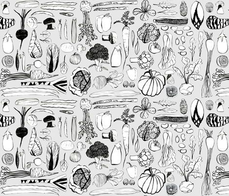 Eat your veggies fabric by marjoleinrooijmans on Spoonflower - custom fabric