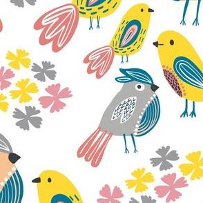 Birds Gathering Large Teal