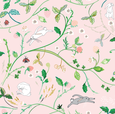 Ambrosia Strawberry Patch (blush) fabric by nouveau_bohemian on Spoonflower - custom fabric