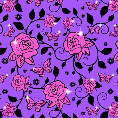 Rrrspoonflower_roses_vines_smaller_leaves_pink_roses_purple_bg_shop_preview