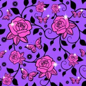Rrrspoonflower_roses_vines_smaller_leaves_pink_roses_purple_bg_shop_thumb