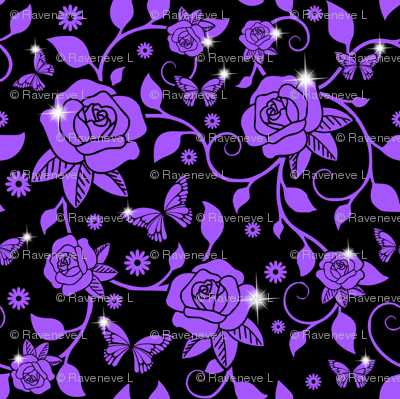 Flowers Floral Purple Roses Leaves Leaf Vines Butterfly Butterflies