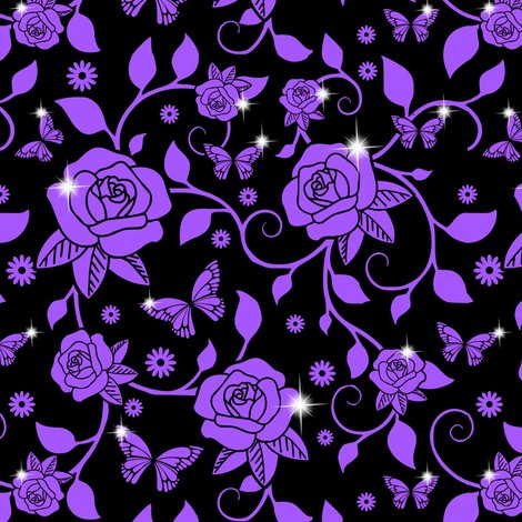 Rrspoonflower_roses_vines_smaller_leaves_purple_roses_vines_black_bg_shop_preview