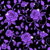 Rrspoonflower_roses_vines_smaller_leaves_purple_roses_vines_black_bg_shop_thumb