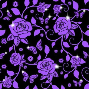 flowers floral purple roses leaves leaf vines butterfly butterflies sparkles glitter stars egl elegant gothic lolita ivy curly branches plants Victorian anna sui inspired