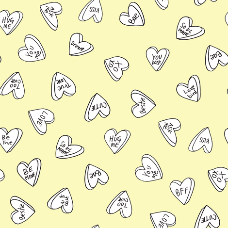 sweet hearts pastel yellow cute hearts valentines candy design