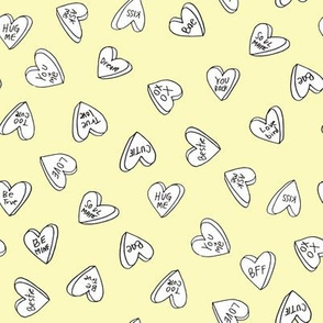 sweet hearts // pastel yellow cute hearts valentines candy design andrea lauren fabric