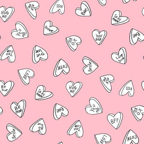sweet hearts // pink pastel pink sweet hearts candy valentines fabric love hearts cute girls valentines fabric