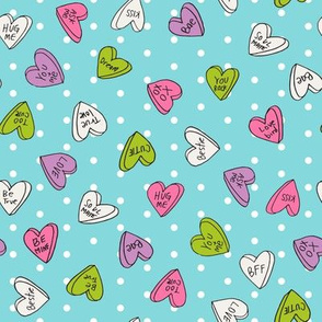 sweet hearts // aqua dots cute hearts love design valentines sweets fabric cute girls pastel fabrics