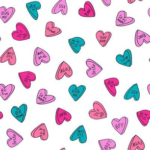 sweet hearts // bright hearts love heart valentines fabric turquoise pink aqua purple valentines love fabric