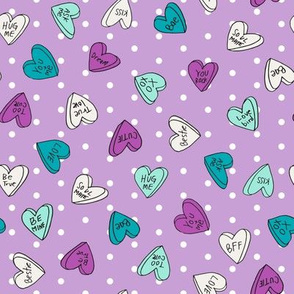 sweet hearts // purple dots pastel mint and purple valentines love hearts