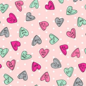 sweet hearts // pink dots valentines love candy best love sweets pastel pink valentines fabric andrea lauren design