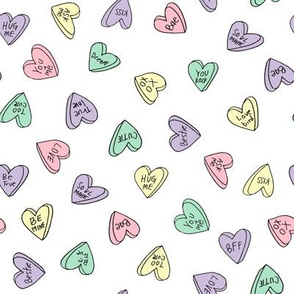 sweet hearts // pastel pink mint purple candies sweet heart valentines love candy valentines fabric andrea lauren