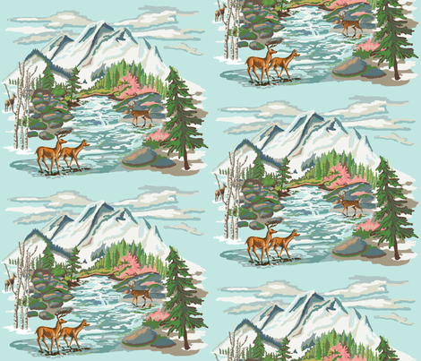Paint by Number Mountain Meadow 2 fabric by hollycejeffriess on Spoonflower - custom fabric