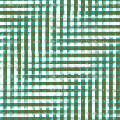 glitchy teal and olive plaid
