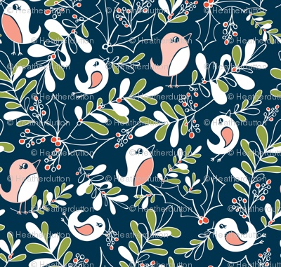 Mistletoe Merriment - Christmas Birds Navy Blue