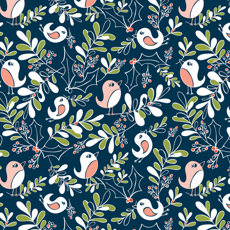 Mistletoe Merriment - Christmas Birds Navy Blue fabric by heatherdutton on Spoonflower - custom fabric