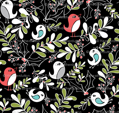 Mistletoe Merriment - Christmas Birds Black