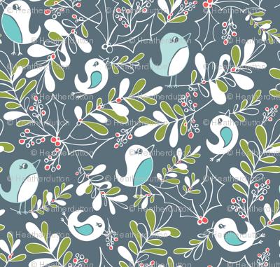 Mistletoe Merriment - Christmas Birds Slate Blue/Grey