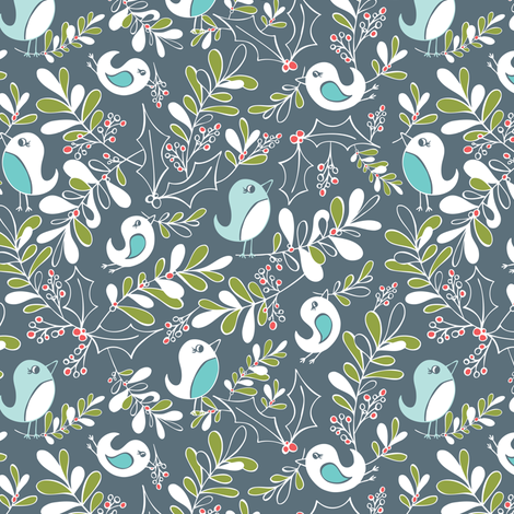 Mistletoe Merriment - Christmas Birds Slate Blue/Grey fabric by heatherdutton on Spoonflower - custom fabric