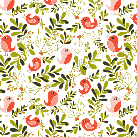 Mistletoe Merriment - Christmas Birds White & Red  fabric by heatherdutton on Spoonflower - custom fabric