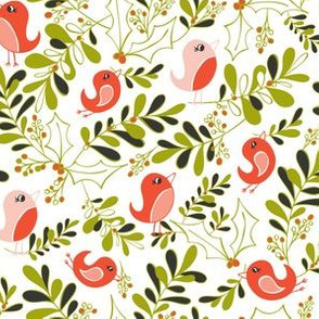 Mistletoe Merriment - Christmas Birds White & Red