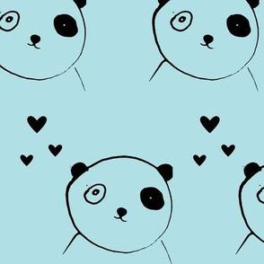 Cute panda blue