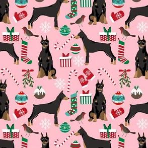 doberman dog fabric doberman pinscher pink christmas fabric