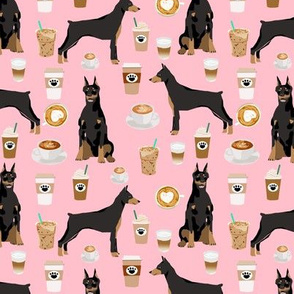 doberman dog fabric doberman pinscher blossom pink coffee fabric