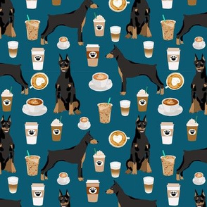 doberman dog fabric doberman pinscher sapphire coffee fabric
