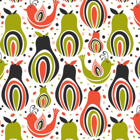 Partridge In A Pear Tree - Retro Christmas Birds fabric by heatherdutton on Spoonflower - custom fabric
