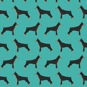 doberman dog fabric doberman pinscher turquoise fabric