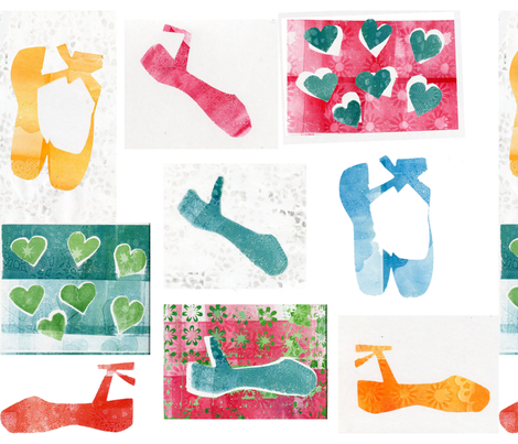 ballet shoes and hearts fabric by tatyanafeeney on Spoonflower - custom fabric