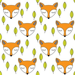 foxes-sleeping-and-leaves on white