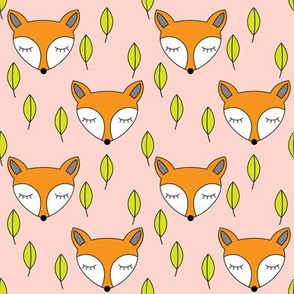 foxes-sleeping-and-leaves-on-soft-pink