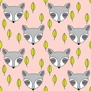 raccoons-sleeping-and-leaves-on-soft-pink