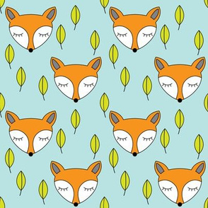 foxes-sleeping-and-leaves-on-soft-blue
