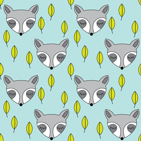 raccoons-sleeping-and-leaves-on-soft-blue fabric by lilcubby on Spoonflower - custom fabric