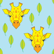 large giraffes-and-leaves-on-soft blue