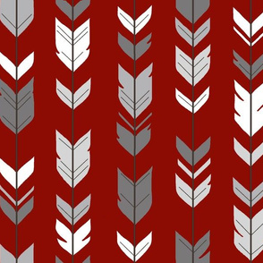 Arrow Feathers - Scarlet/Grey